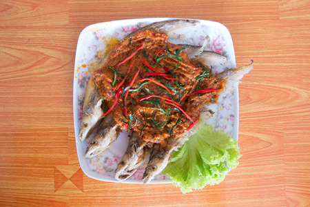 chili's restaurant: fish prepared Thai style Stock Photo