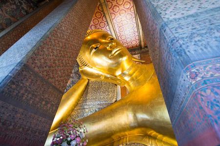 Giant Buddha inside Wat Pho Temple bangkok Thailand.
