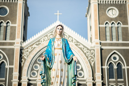 immaculate: Saint Mary or the Blessed Virgin Mary, the mother of Jesus, in front of the Roman Catholic Diocese or Cathedral of the Immaculate Conception, Chanthaburi, Thailand. Stock Photo