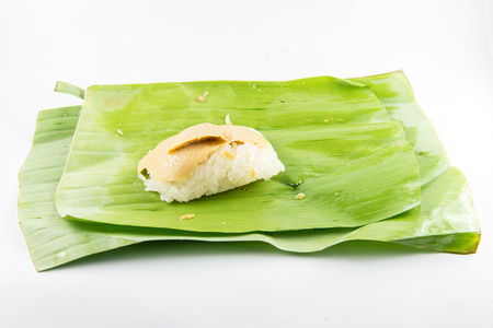 Sweet sticky rice with custard ,dessert in Thai style.