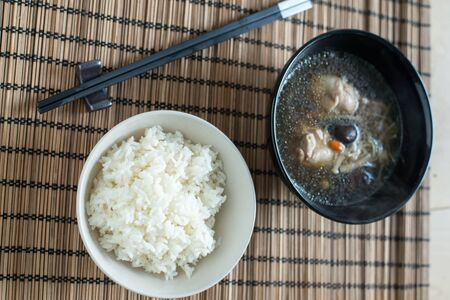 Freshly cook rice and soup
