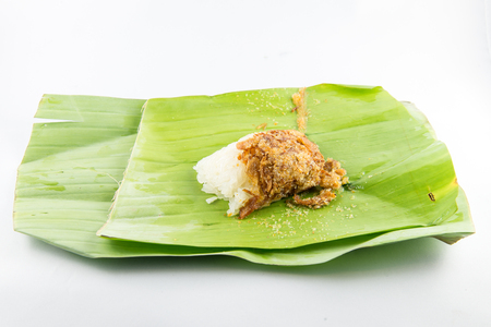 Sweet sticky rice with shrimp and dried fish, dessert in Thai style