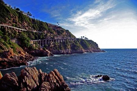 Stunning Coastline with blue sky and blue water Reklamní fotografie