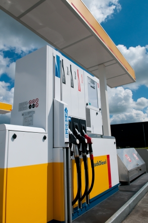 petrol station: gas station for fueling gasoline and diesel Stock Photo