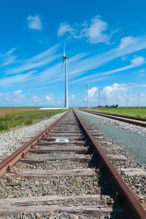 View of a railway and windmills Stock Photo - 9611820
