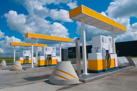refuel: picture of a modern gas station for fueling gasoline Stock Photo
