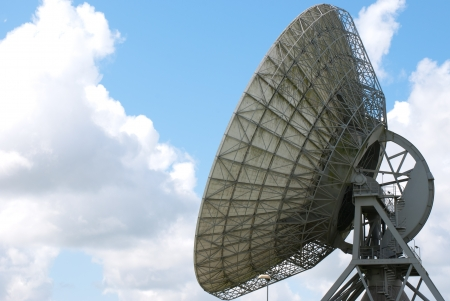 Back view  of a large satellite dish for communication photo