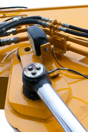 hydraulic hoses: Picture on hydraulic connections of a excavator Stock Photo