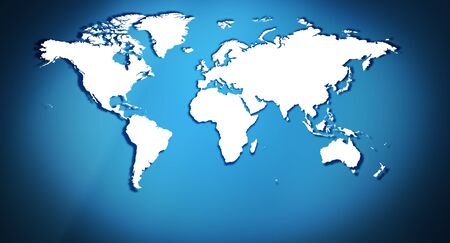 map of the world: Blue title world map background Stock Photo