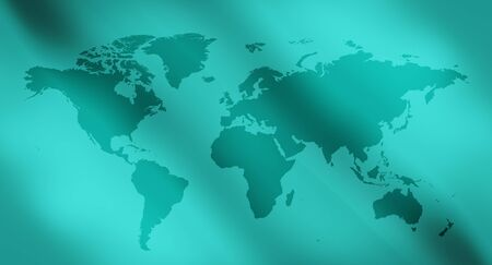 visions of america: Green abstract lights background and world map Stock Photo