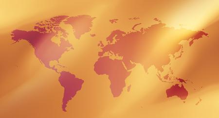 金色の背景と青の世界地図 写真素材