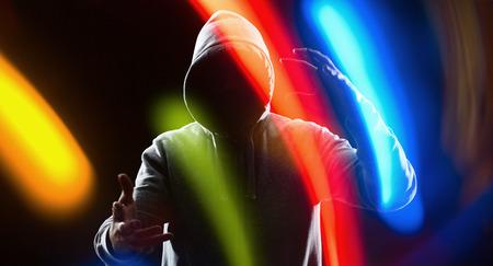 Futuristic computer hacker cracking password