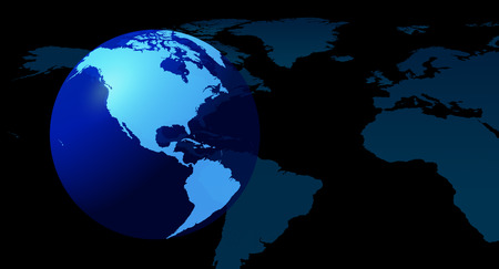 Globe continents blue background