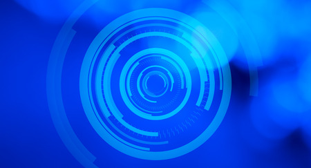 holographic: Futuristic holographic virtual monitor panel, blue abstract background Stock Photo