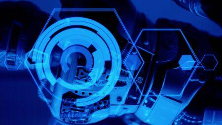holographic: Olografica hud e robot sfondo tech Archivio Fotografico