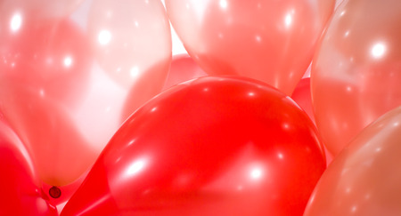 Birthday party red gold balloons