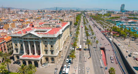 catalunya: Barcelona panorama cityscape, city streets traffic aerial view