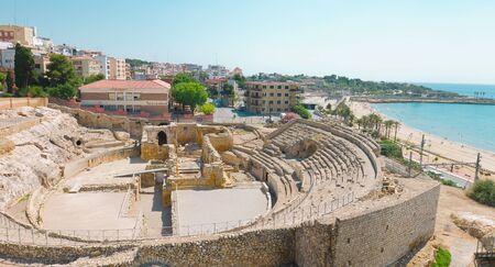 roman amphitheater: Tarragona Roman Amphitheater and beach, Costa Daurada, Catalonia