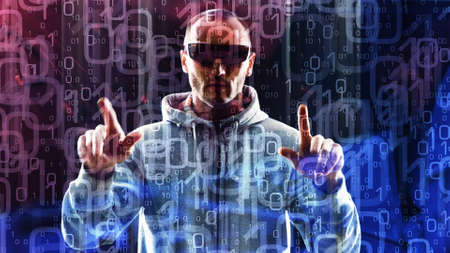 future concept: Computer hacker typing on hologram computer futuristic cyber attack Stock Photo