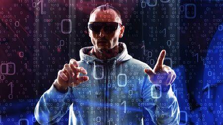 crime: Computer cyber crime, futuristic hacker Stock Photo