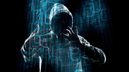 cyber crime: New technology hacker cyber crime in cyberspace Stock Photo