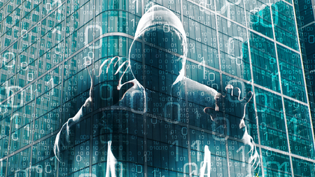 Holographic cyber hacker attack