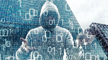technology security: Hacker hacking hologram computer network Stock Photo
