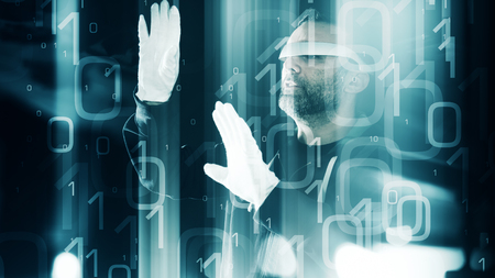 Virtual reality glasses concept, futuristic hacker in white gloves, binary background