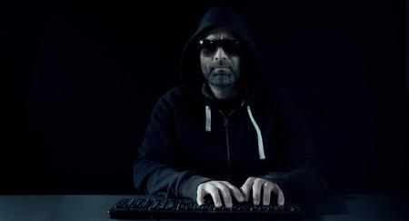 computer hacker: Computer hacker attack, black background