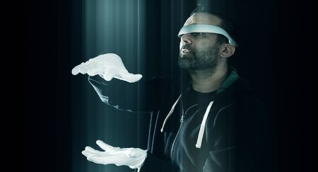 VIRTUAL REALITY: Virtual reality glasses concept, futuristic hacker night cybercrime