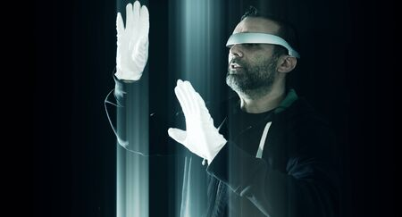 hacked: Virtual reality glasses, futuristic hacker