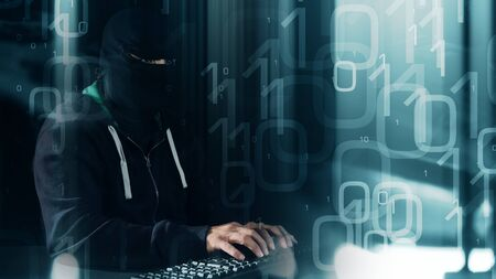 binary background: Futuristic hacker, binary background Stock Photo