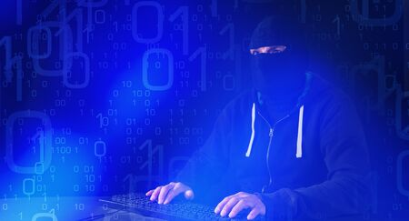 computer hacker: Network illegal access, computer hacker typing on keyboard