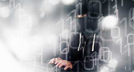 computer hacker: Computer hacker cybercrime binary abstract background Stock Photo