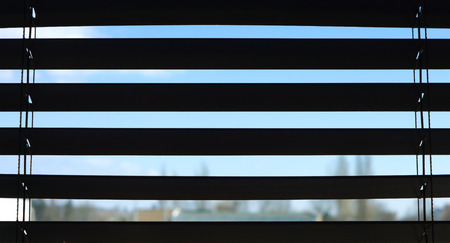 window: Window blinds blue sky