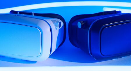 conception: VR virtual reality blue conception background Stock Photo