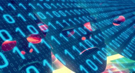 Computer binary code cyberspace background Stock Photo