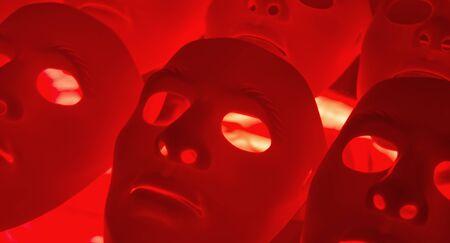 psycho social: Creepy masks background