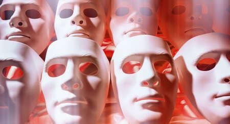 psycho social: Human face masks Stock Photo