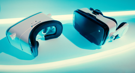 Virtual vr glasses innovation concept. Two virtual reality headsets