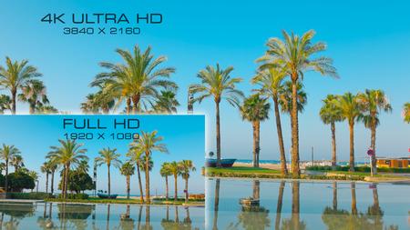 新規デジタル ビデオ標準的な 4 K 超の HD とフル HD を比較します。 写真素材