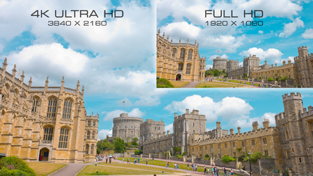 Compare video standards 4K Ultra HD vs Full HD Stock Photo