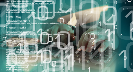 hacked: Binary code and trojan virus code, green abstract background