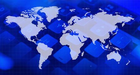 世界地図、コンピューターのキーボード 写真素材