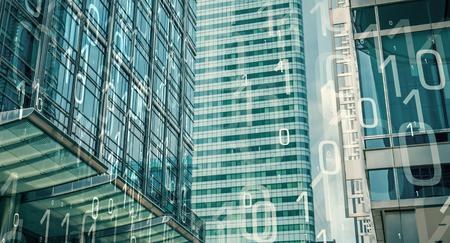 サイバー セキュリティ、バイナリ コードや近代的なオフィスビル