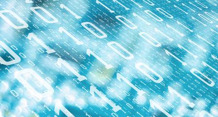 Computer algorithm data future numbers, cyber attack threat Foto de archivo