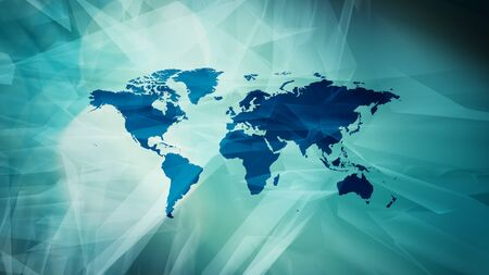 World map continents, business news title graphic Stock Photo