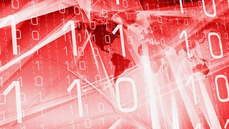 World continents, binary code and red abstract backdrop