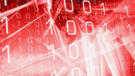 Computer binary code red tech idea