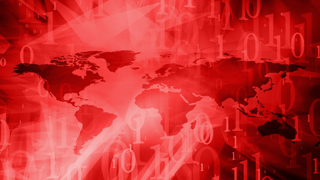 Cyber security red world map